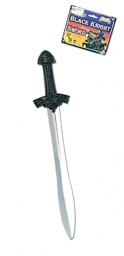 Black Knight Sword Silver blade Medieval Times Novelty Plastic Toy